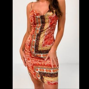 misguided red paisley satin dress